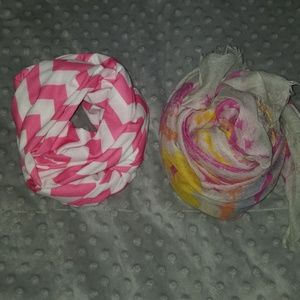 Lot of two pink scarves chevron infinity